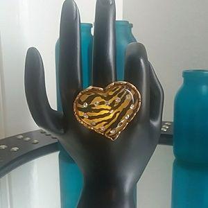 Betsey Johnson tiger print heart ring